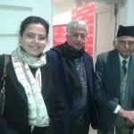 With legendary Pakistani writer Intizar Husain and literary historian and writer Rakhshanda Jalil in New Delhi